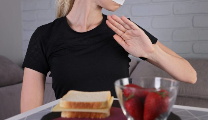 Symptoms of eating disorders (anorexia, bulimia, hyperphagia)